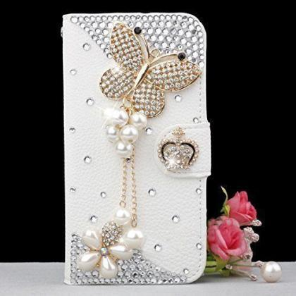 Bling iPhone 6 case, iPhone 6 Plus case, iPhone 5s case, iPhone 5 case, bling wallet case for samsung galaxy note 4 note 4 edge s6 s6 edge s5 s4 s3, Butterfly