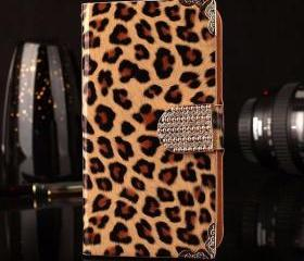 IPhone 6 Case, IPhone 6 Plus Case, IPhone 5s Case, IPhone 4s Case, Bling Wallet Case For Samsung Galaxy Note 4 Note 4 Edge S6 S6 Edge S5 S4 S3,Brown Leopard Luxury bling phone wallet