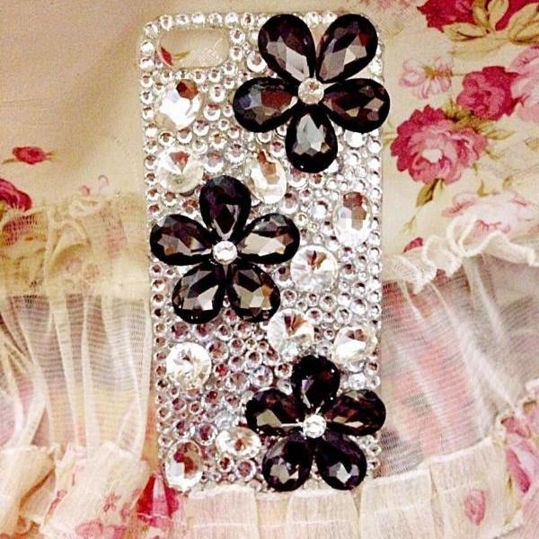 Flower Bling iPhone 7 Plus, iPhone 6 6s case, iPhone 6 6s Plus case, iPhone 5s SE case, iPhone 5c case, bling wallet case for samsung galaxy note 4 note 5 s7 edge s6 edge s5
