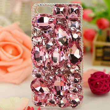 Pink Crystal Bling iPhone 7 Plus, iPhone 6 6s case, iPhone 6 6s Plus case, iPhone 5s SE case, iPhone 5c case, bling wallet case for samsung galaxy note 4 note 5 s7 edge s6 edge s5