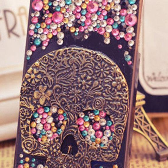 Skull crystal bling iPhone 7 Plus, iPhone 6 6s case, iPhone 6 6s Plus case, iPhone 5s SE case, iPhone 5c case, bling wallet case for samsung galaxy note 4 note 5 s7 edge s6 edge s5